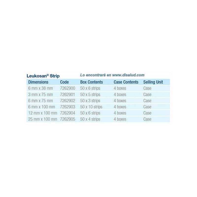Leukosan® Strip adhesive skin closures 3x75mm 50 Envelopes of 5 Strips (250 Strip) White